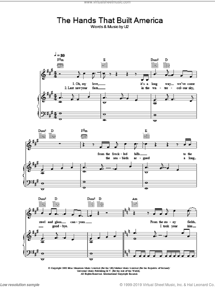 The Hands That Built America sheet music for voice, piano or guitar by U2. Score Image Preview.