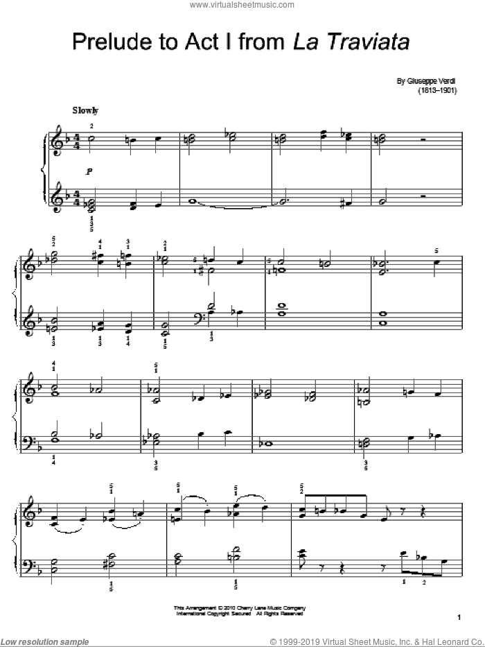 Prelude To Act I sheet music for piano solo by Giuseppe Verdi. Score Image Preview.