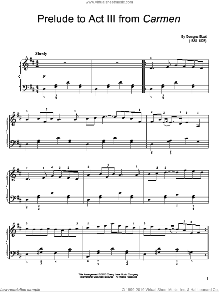 Prelude To Act III sheet music for piano solo by Georges Bizet, classical score, easy skill level