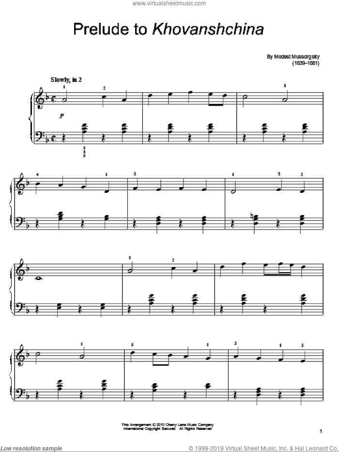 Prelude To Khovanshchina sheet music for piano solo by Modest Petrovic Mussorgsky, classical score, easy skill level