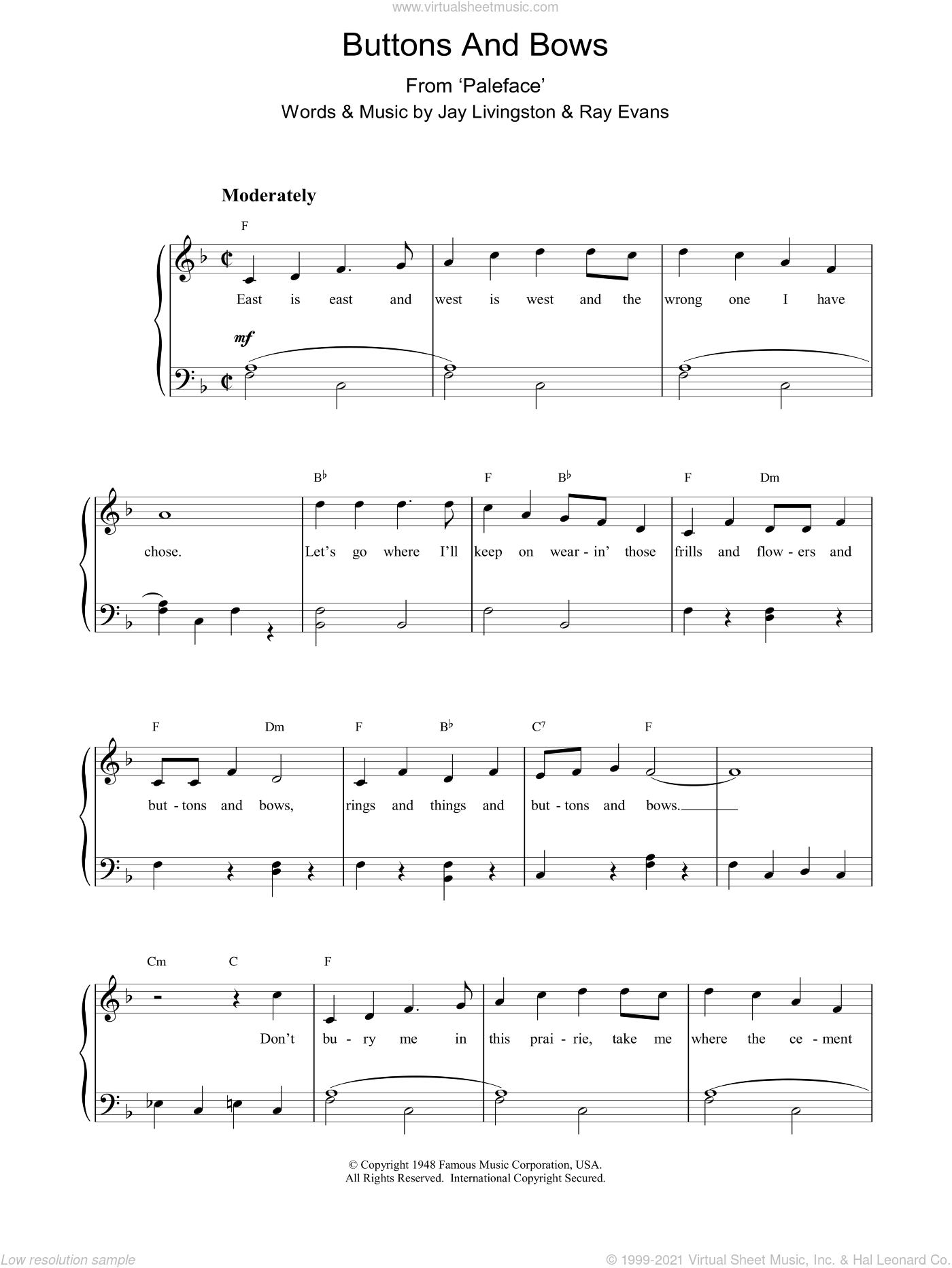 Buttons And Bows sheet music for piano solo by J & Evans, R Livingston, Dinah Shore and Gene Autry. Score Image Preview.