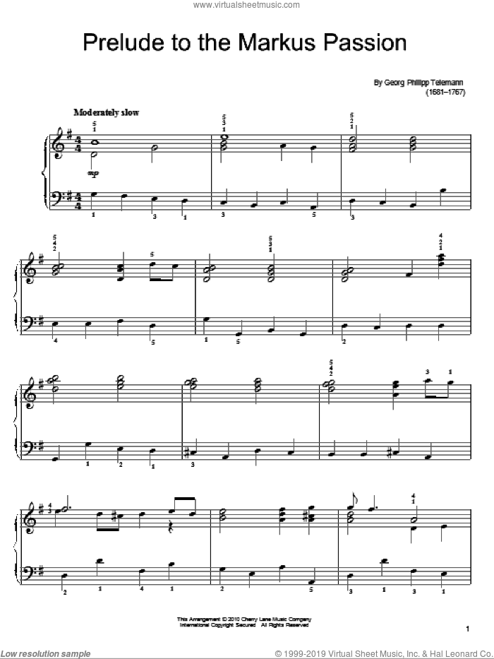 Prelude To The Markus Passion sheet music for piano solo by Georg Philipp Telemann. Score Image Preview.
