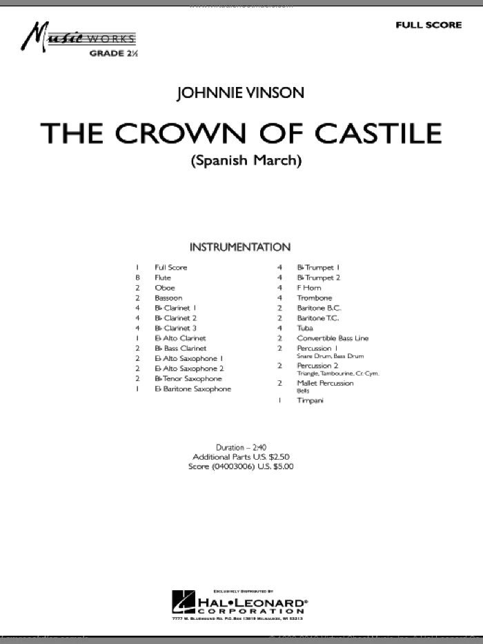 The Crown Of Castile sheet music for concert band (full score) by Johnnie Vinson