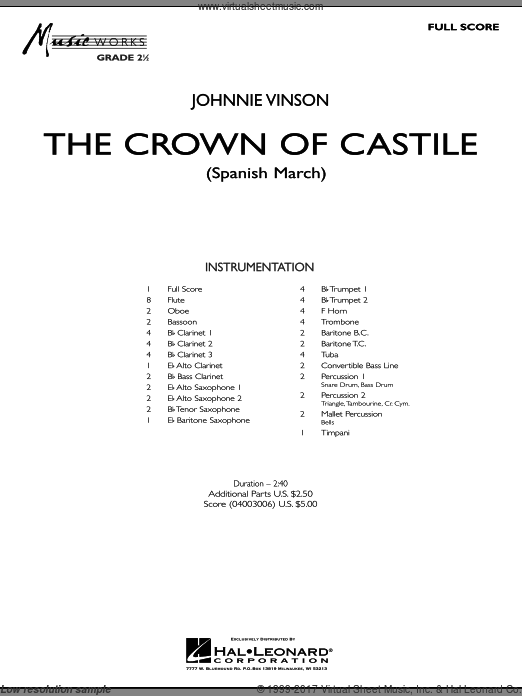 The Crown Of Castile (COMPLETE) sheet music for concert band by Johnnie Vinson