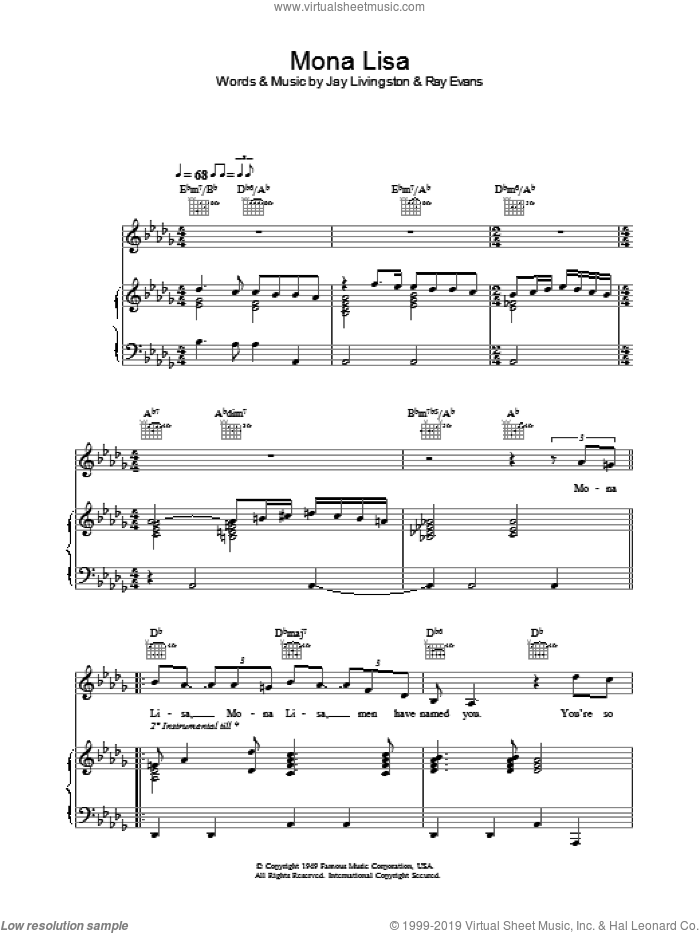 Mona Lisa sheet music for voice, piano or guitar by Ray Evans, Manuel Seal and Jay Livingston. Score Image Preview.