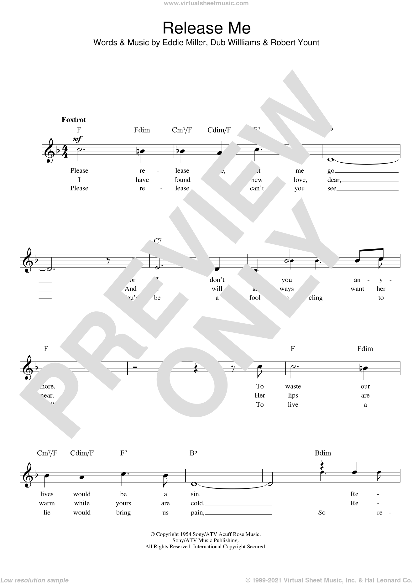 Release Me sheet music for voice and other instruments (fake book) by Engelbert Humperdinck, Esther Phillips, Johnny Adams, Tom Jones, Guster and Robbie Williams, intermediate skill level