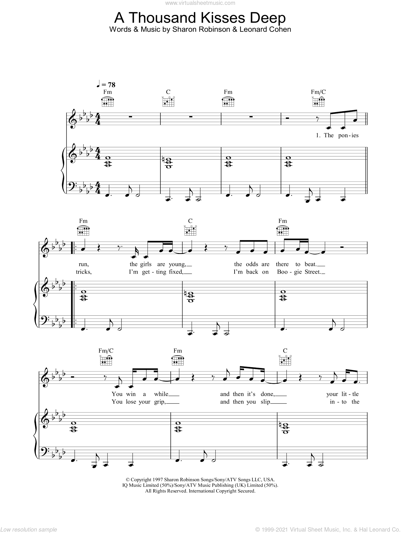 A Thousand Kisses Deep sheet music for voice, piano or guitar by Leonard Cohen and Sharon Robinson, intermediate skill level
