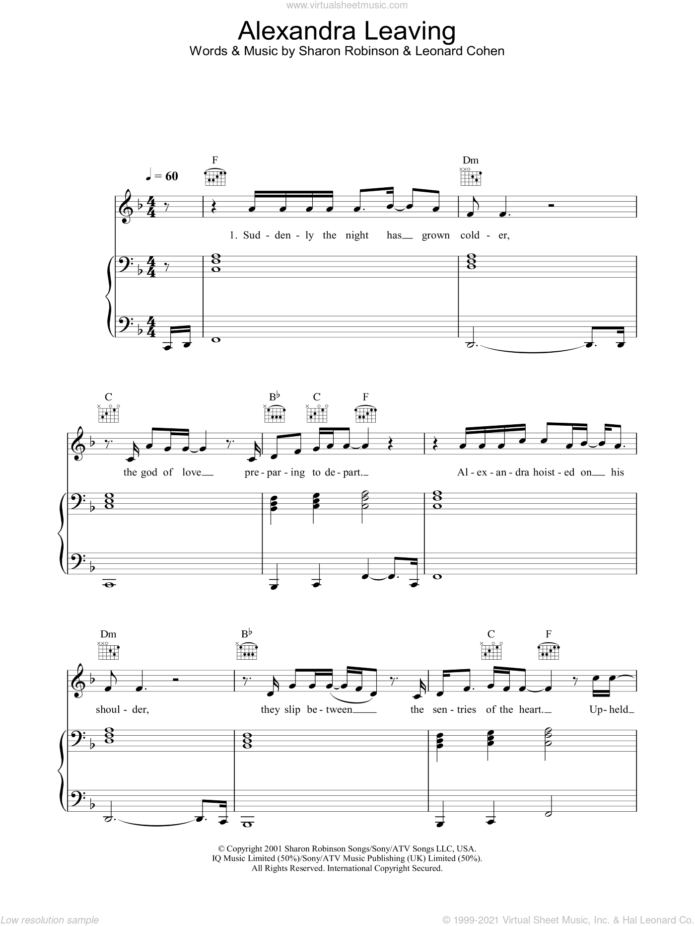 Alexandra Leaving sheet music for voice, piano or guitar by Leonard Cohen and Sharon Robinson, intermediate skill level