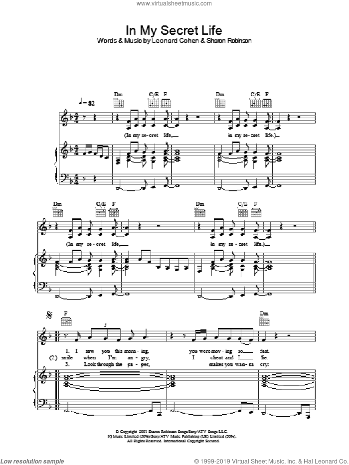 In My Secret Life sheet music for voice, piano or guitar by Leonard Cohen and Sharon Robinson, intermediate skill level