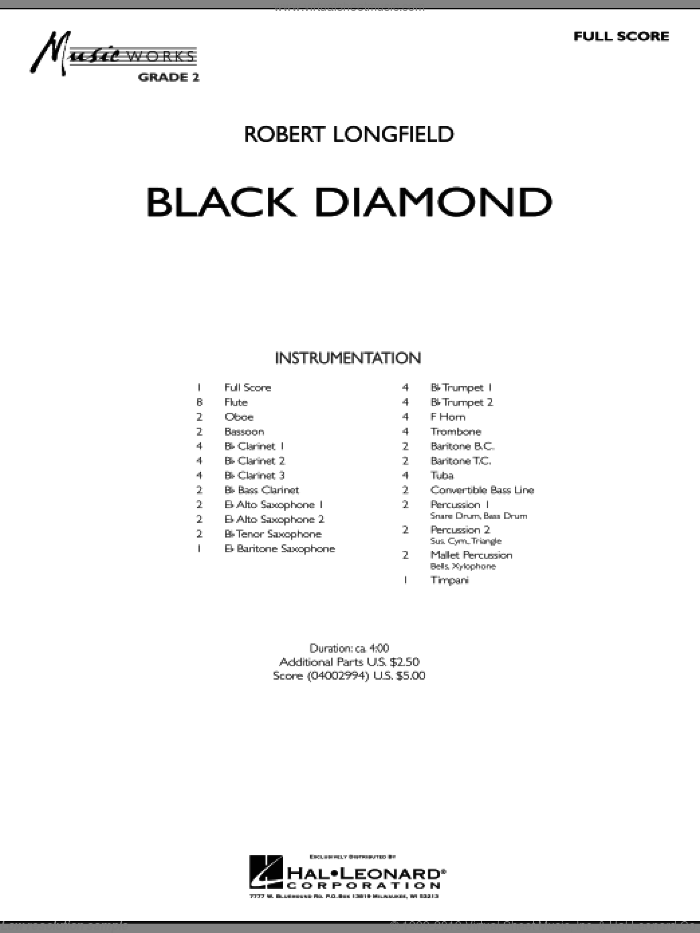 Black Diamond sheet music for concert band (full score) by Robert Longfield