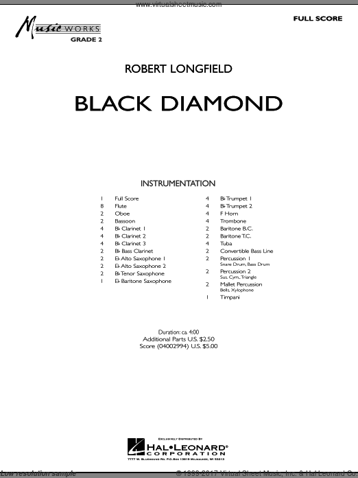 Black Diamond (COMPLETE) sheet music for concert band by Robert Longfield