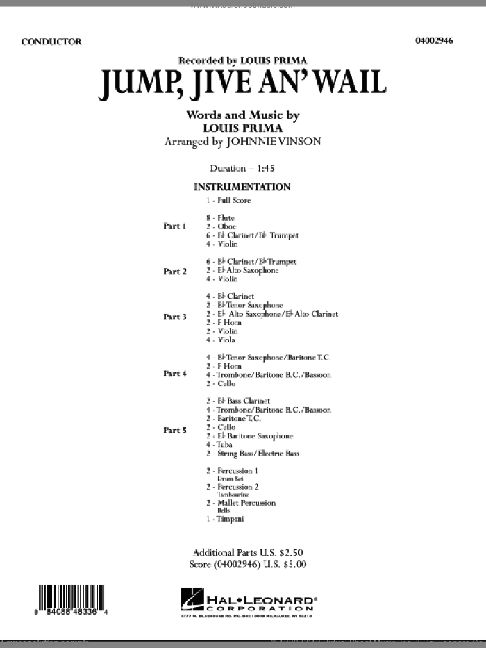 Jump, Jive An' Wail (COMPLETE) sheet music for concert band by Louis Prima, Brian Setzer and Johnnie Vinson, intermediate skill level
