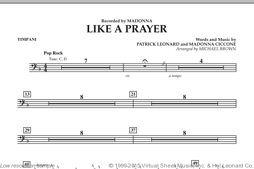 Like A Prayer (COMPLETE) sheet music for concert band by Patrick Leonard