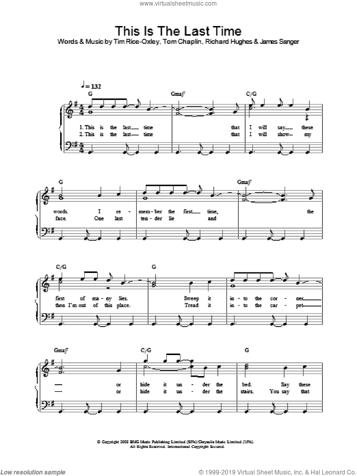 This Is The Last Time sheet music for piano solo by Tom Chaplin and Tim Rice-Oxley. Score Image Preview.