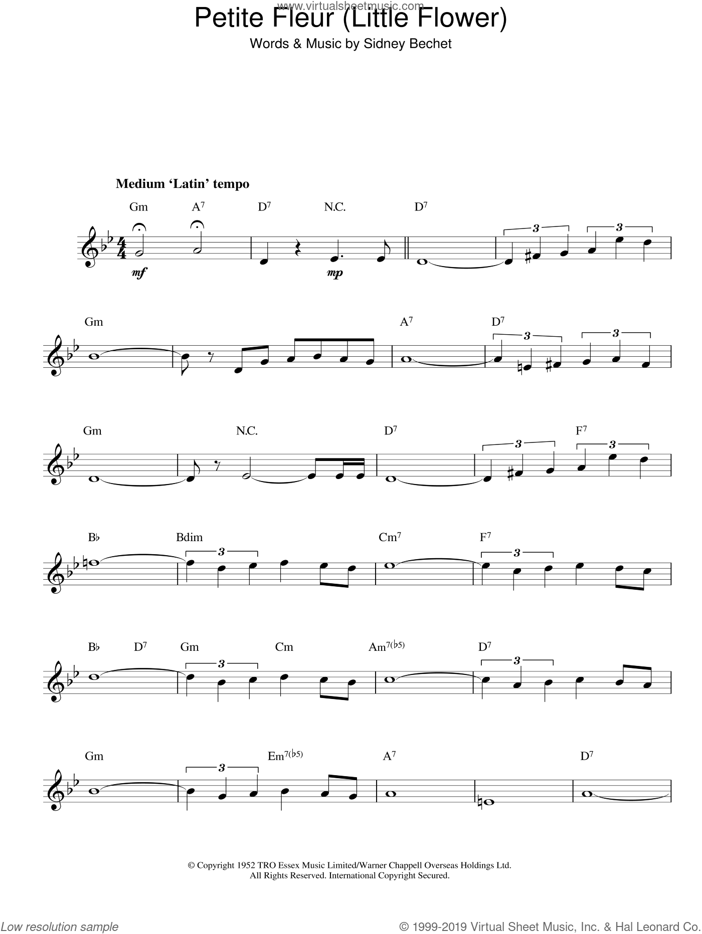 Petite Fleur sheet music for voice and other instruments (fake book) by Sidney Bechet. Score Image Preview.
