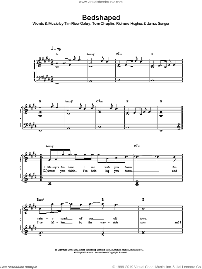 Bedshaped sheet music for piano solo by Tom Chaplin, Richard Hughes and Tim Rice-Oxley. Score Image Preview.