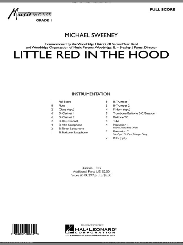 Little Red In The Hood (COMPLETE) sheet music for concert band by Michael Sweeney, intermediate skill level
