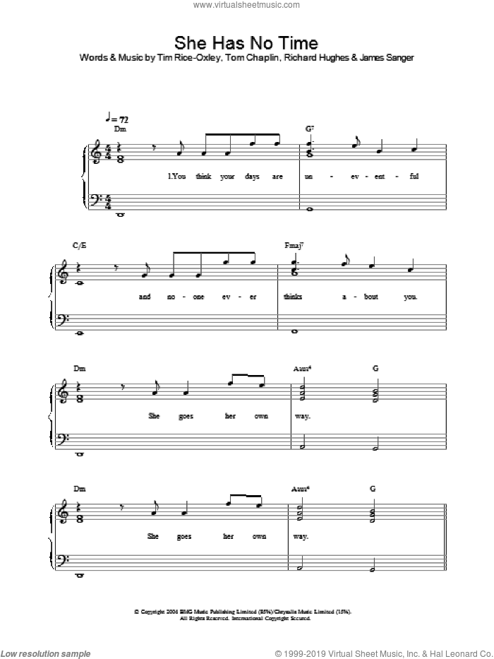 She Has No Time sheet music for piano solo by Tim Rice-Oxley, intermediate piano. Score Image Preview.