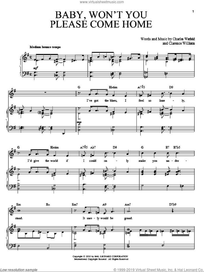 Baby, Won't You Please Come Home sheet music for voice and piano by Bessie Smith, Charles Warfield and Clarence Williams, intermediate skill level