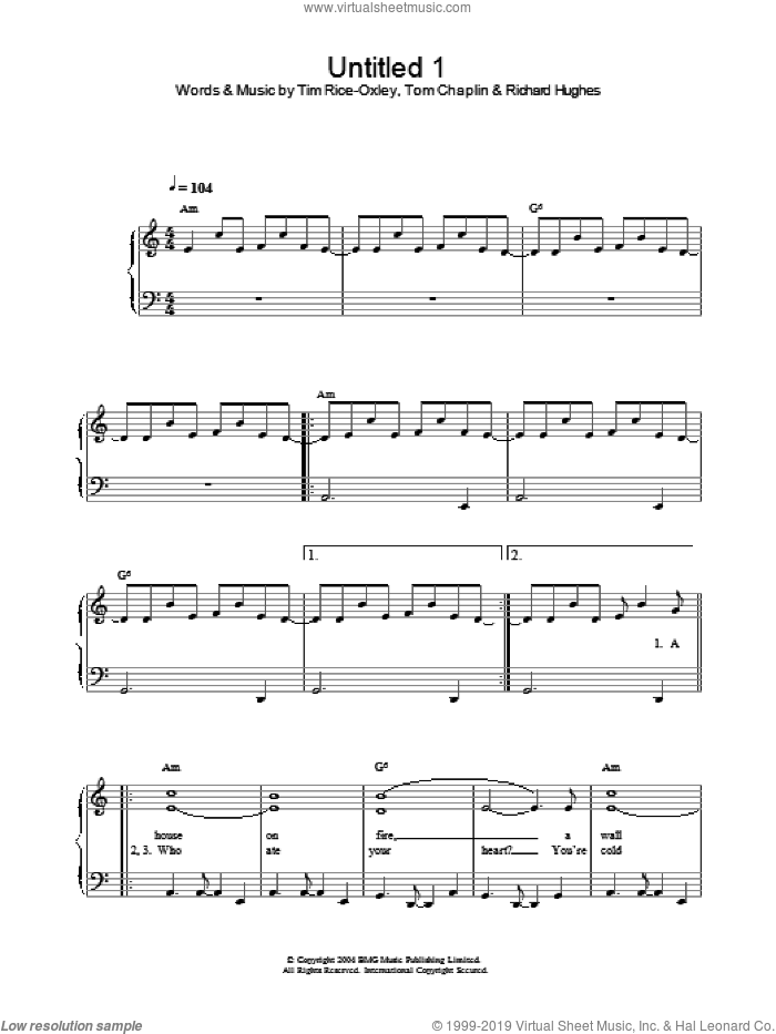Untitled 1 sheet music for piano solo by Tim Rice-Oxley, intermediate piano. Score Image Preview.