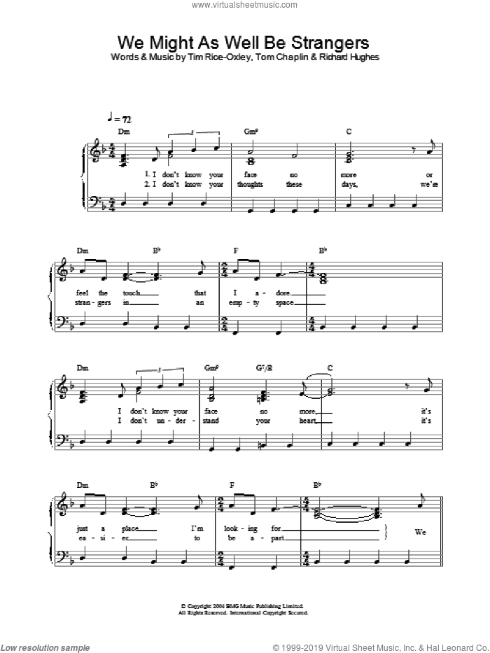 We Might As Well Be Strangers sheet music for piano solo by Tim Rice-Oxley. Score Image Preview.