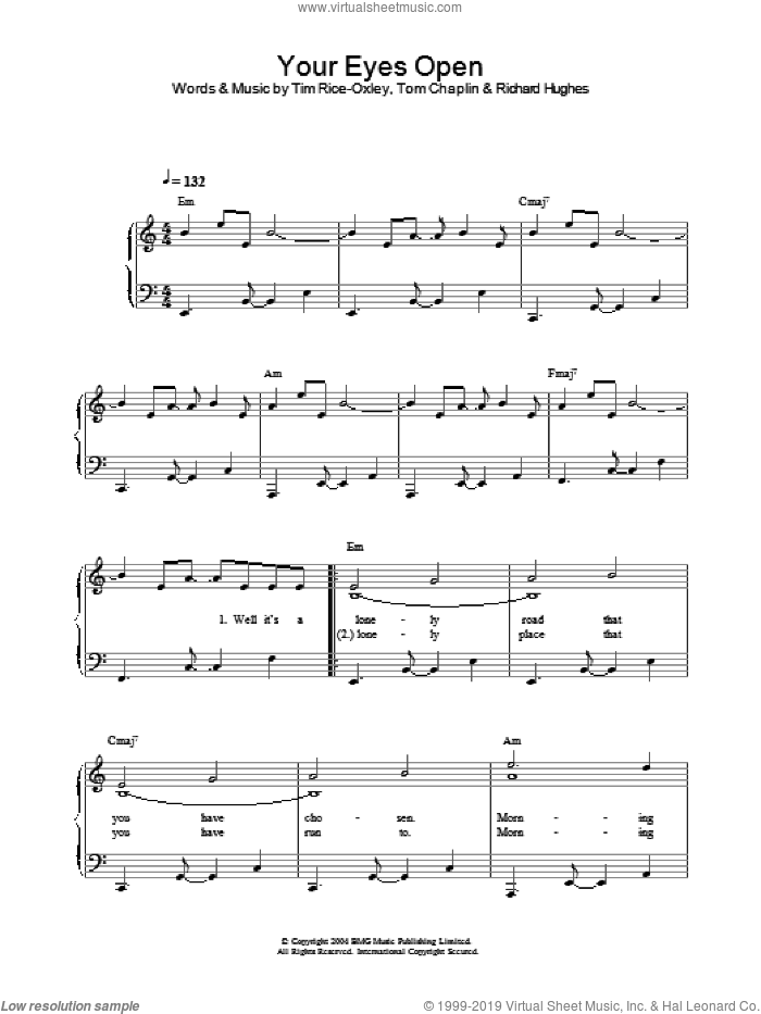 Your Eyes Open sheet music for piano solo by Tom Chaplin, Richard Hughes and Tim Rice-Oxley