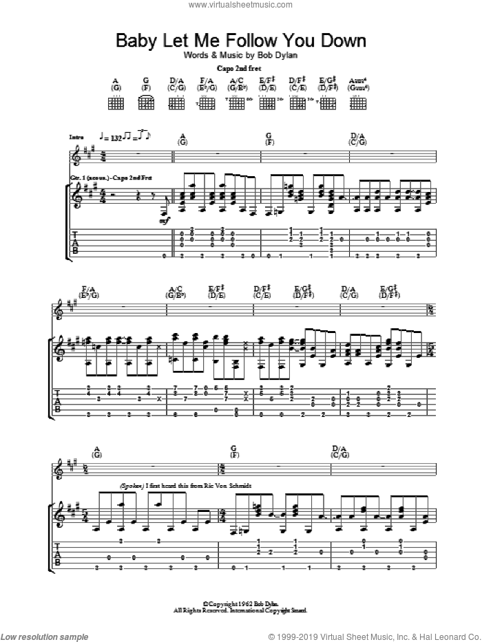 Baby Let Me Follow You Down sheet music for guitar (tablature) by Bob Dylan, intermediate skill level