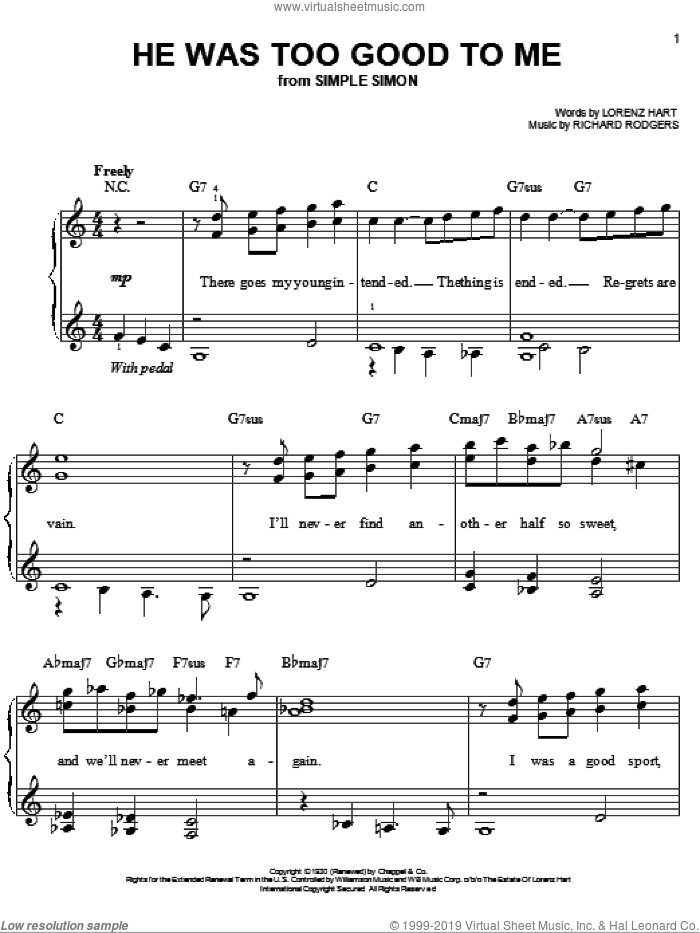 He Was Too Good To Me sheet music for piano solo by Rodgers & Hart, Lorenz Hart and Richard Rodgers, easy skill level