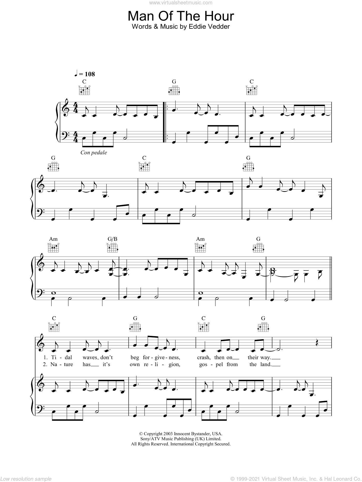 Man Of The Hour sheet music for voice, piano or guitar by Eddie Vedder and Pearl Jam. Score Image Preview.