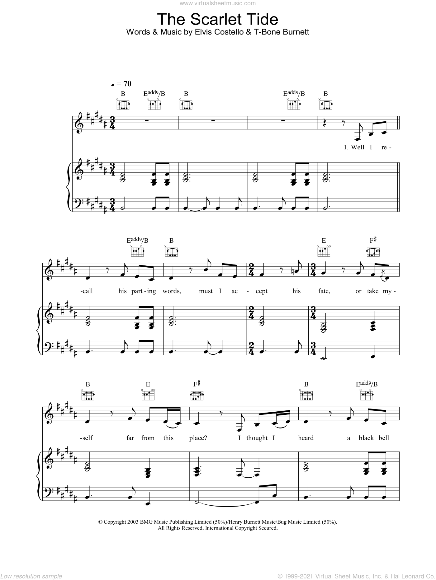 The Scarlet Tide sheet music for voice, piano or guitar by Alison Krauss, Elvis Costello and T-Bone Burnett, intermediate skill level