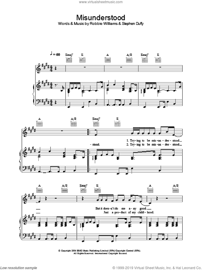 Misunderstood sheet music for voice, piano or guitar by Stephen Duffy and Robbie Williams. Score Image Preview.