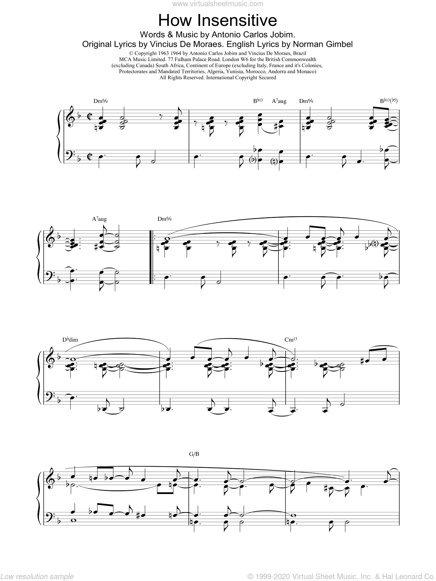 How Insensitive sheet music for piano solo by Bennie Harris, intermediate. Score Image Preview.