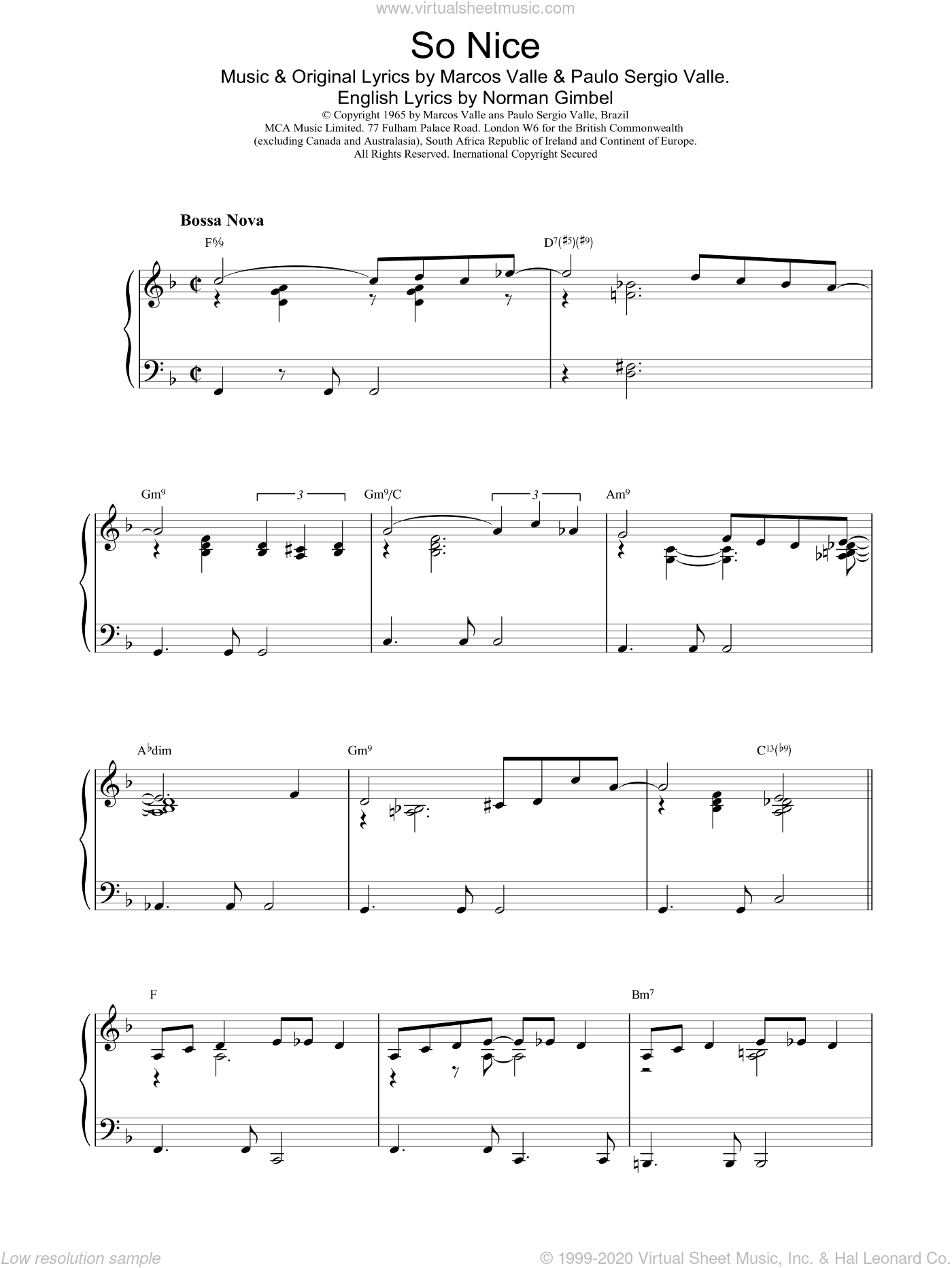 So Nice sheet music for piano solo by Valle and Norman Gimbel. Score Image Preview.