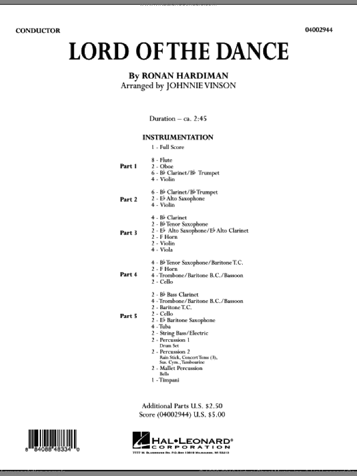 The Lord Of The Dance (COMPLETE) sheet music for concert band by Ronan Hardiman and Johnnie Vinson, intermediate concert band. Score Image Preview.