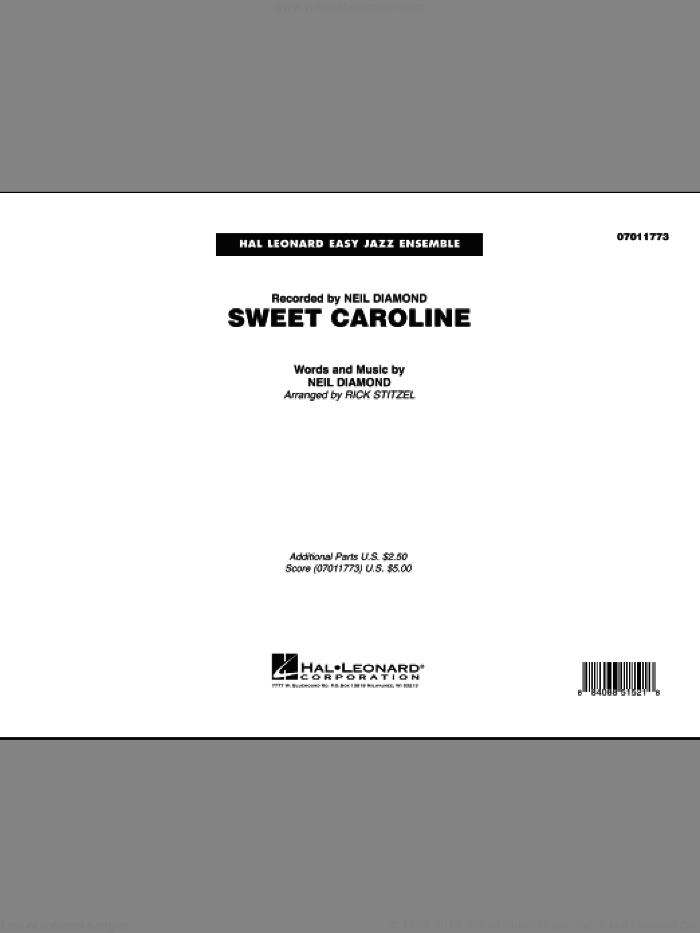 Sweet Caroline (COMPLETE) sheet music for jazz band by Neil Diamond and Rick Stitzel, intermediate jazz band. Score Image Preview.