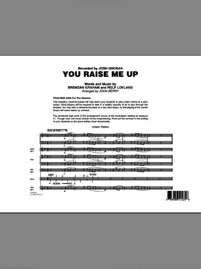You Raise Me Up (COMPLETE) sheet music for jazz band by Brendan Graham, Rolf Lovland, John Berry, Josh Groban and Secret Garden, intermediate. Score Image Preview.