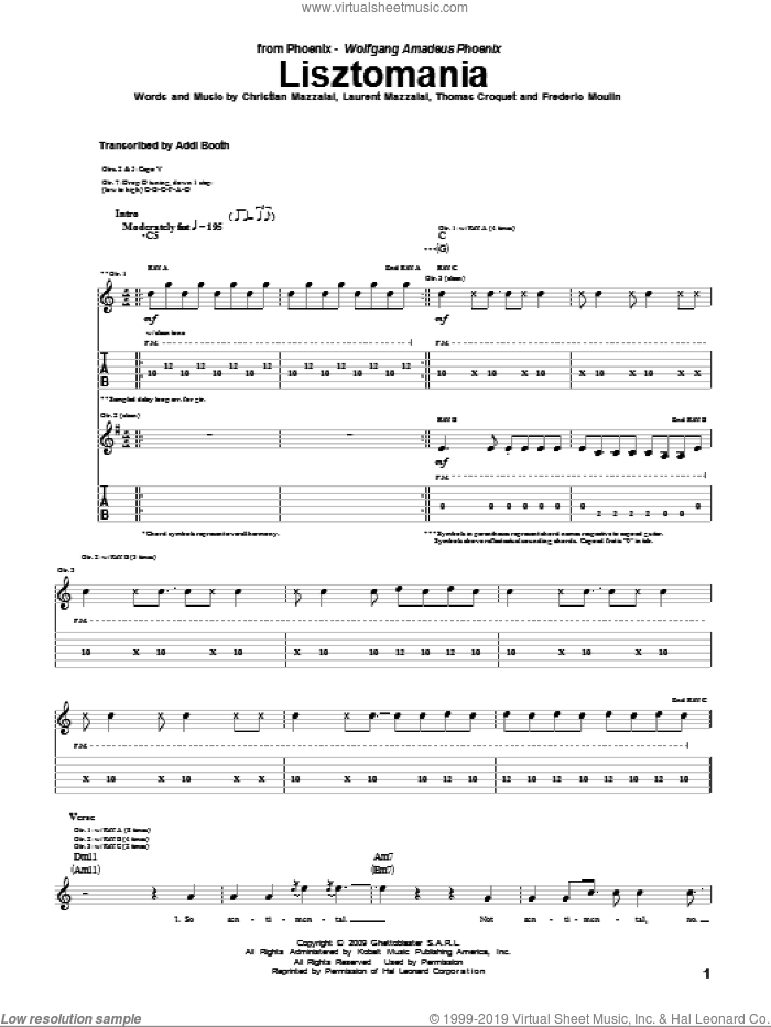 Lisztomania sheet music for guitar (tablature) by Phoenix, Christian Mazzalai, Frederic Moulin, Laurent Mazzalai and Thomas Croquet, intermediate skill level