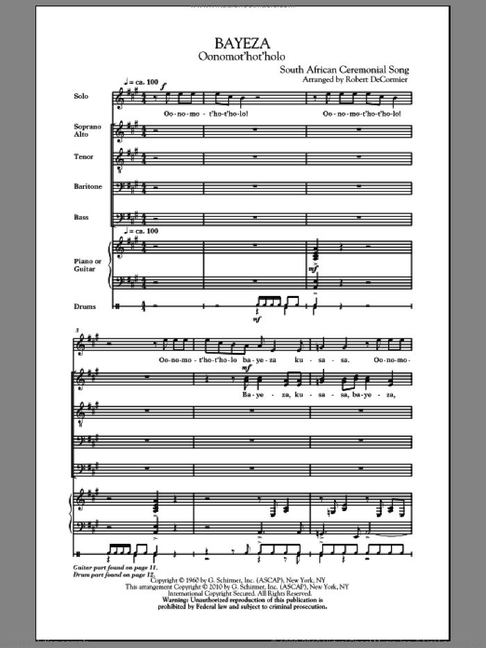 Bayeza (Oonomot'hot'holo) sheet music for choir (SATB) by Robert DeCormier. Score Image Preview.