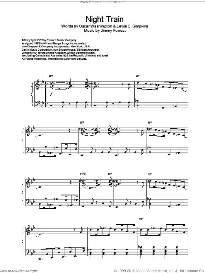 Night Train sheet music for piano solo by Mills & Parrish