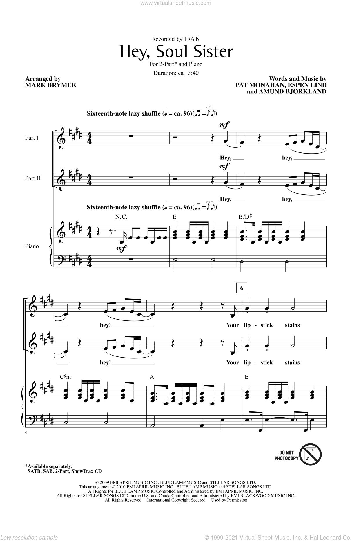 Hey, Soul Sister sheet music for choir and piano (duets) by Amund Bjorklund, Mark Brymer, Pat Monahan and Train. Score Image Preview.