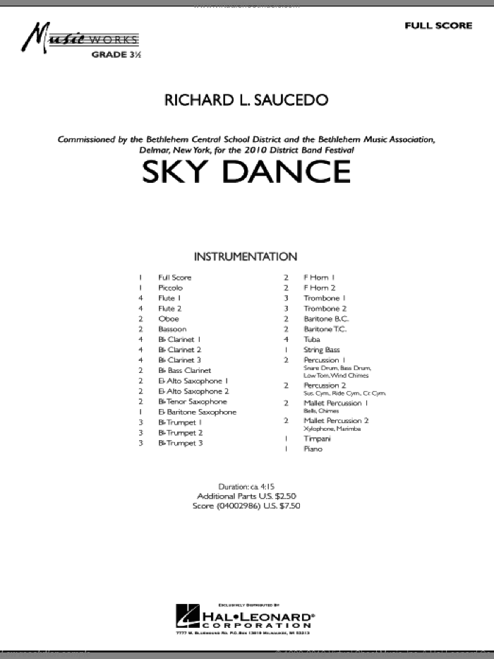 Sky Dance (COMPLETE) sheet music for concert band by Richard L. Saucedo, intermediate. Score Image Preview.