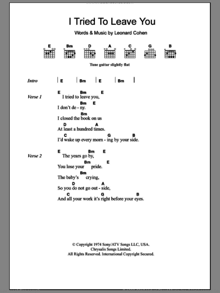 I Tried To Leave You sheet music for guitar (chords) by Leonard Cohen, intermediate skill level