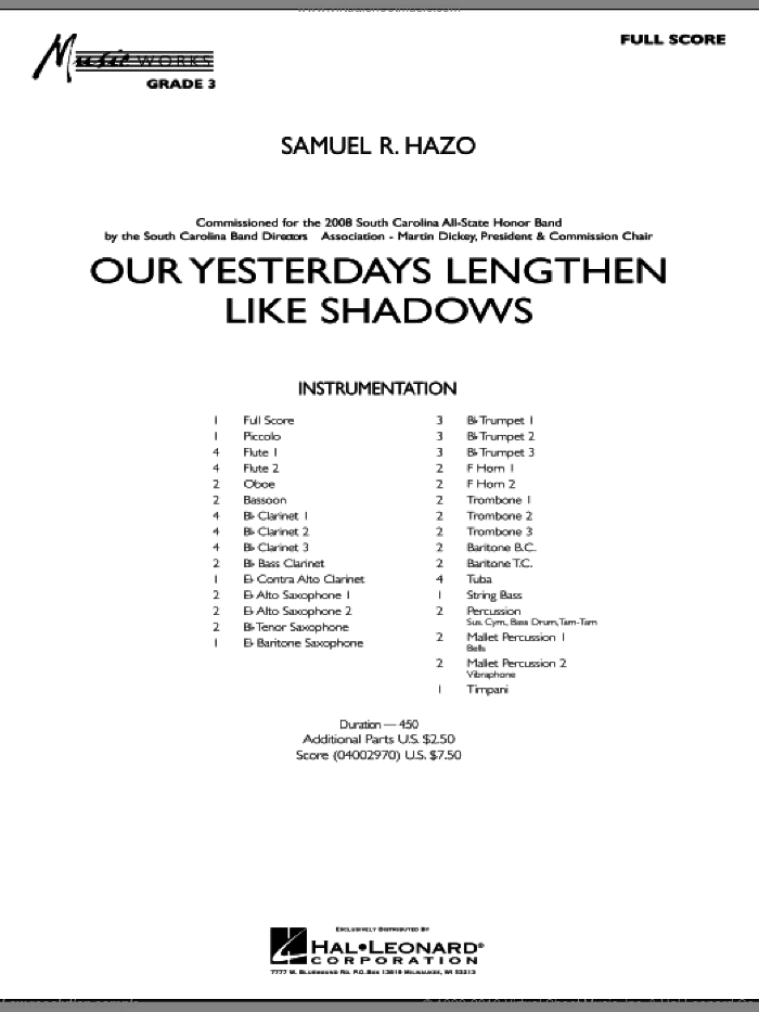 Our Yesterdays Lengthen Like Shadows sheet music for concert band (full score) by Samuel R. Hazo