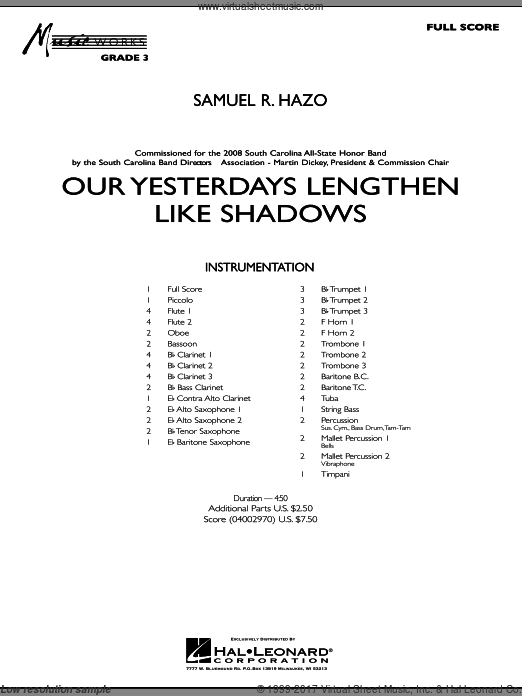 Our Yesterdays Lengthen Like Shadows (COMPLETE) sheet music for concert band by Samuel R. Hazo