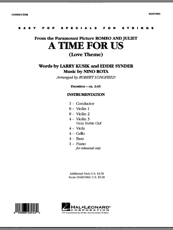 A Time For Us (Love Theme) sheet music for orchestra (full score) by Nino Rota