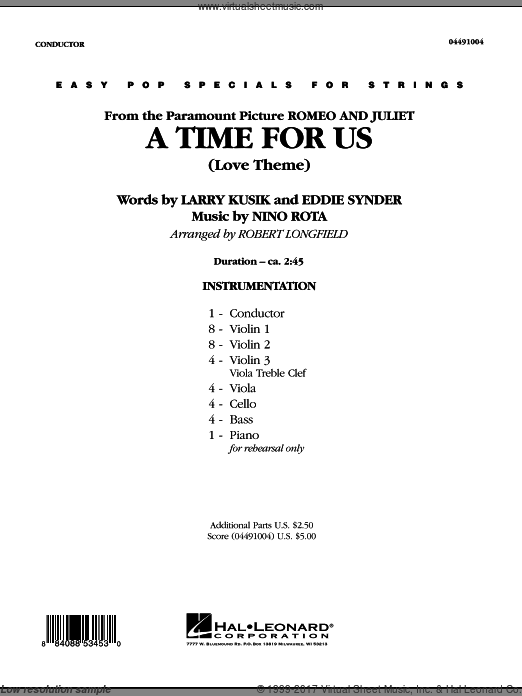 A Time For Us (Love Theme) (COMPLETE) sheet music for orchestra by Nino Rota