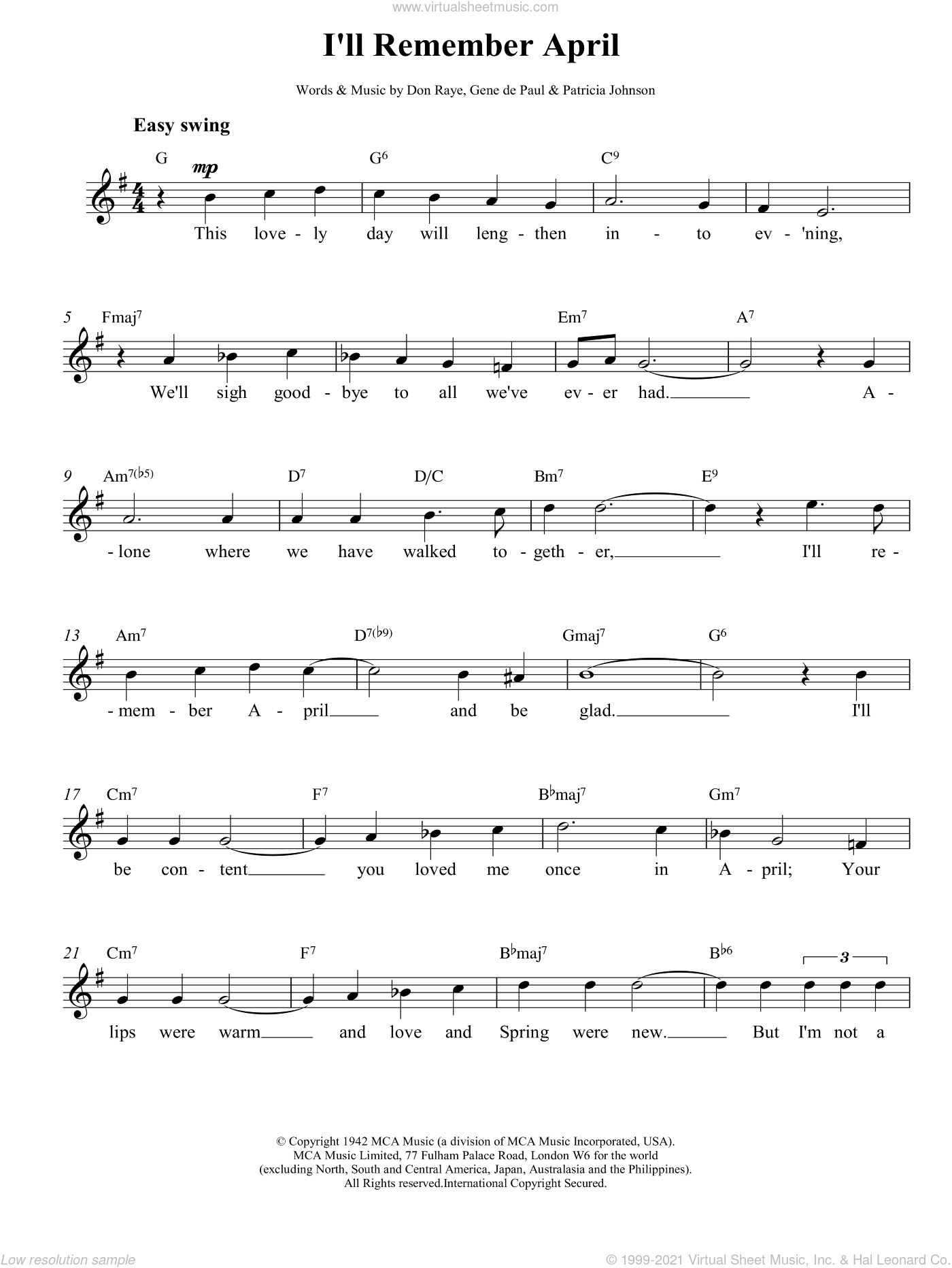 I'll Remember April sheet music for voice and other instruments (fake book) by Charlie Parker, Lee Konitz, DE PAUL, Don Raye and JOHNSON, intermediate skill level