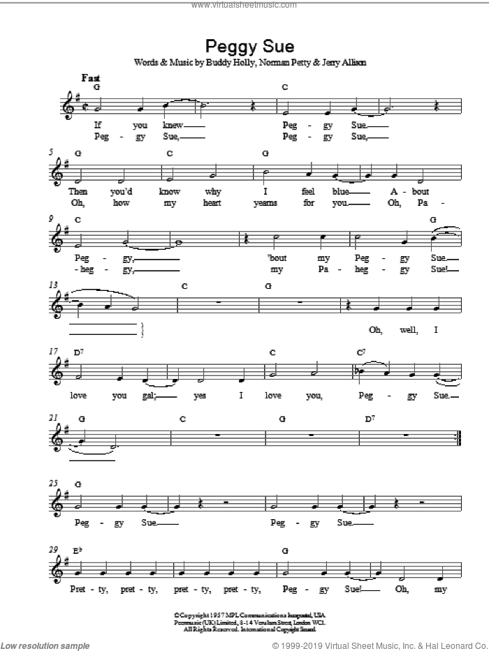 Peggy Sue sheet music for voice and other instruments (fake book) by Buddy Holly, intermediate. Score Image Preview.