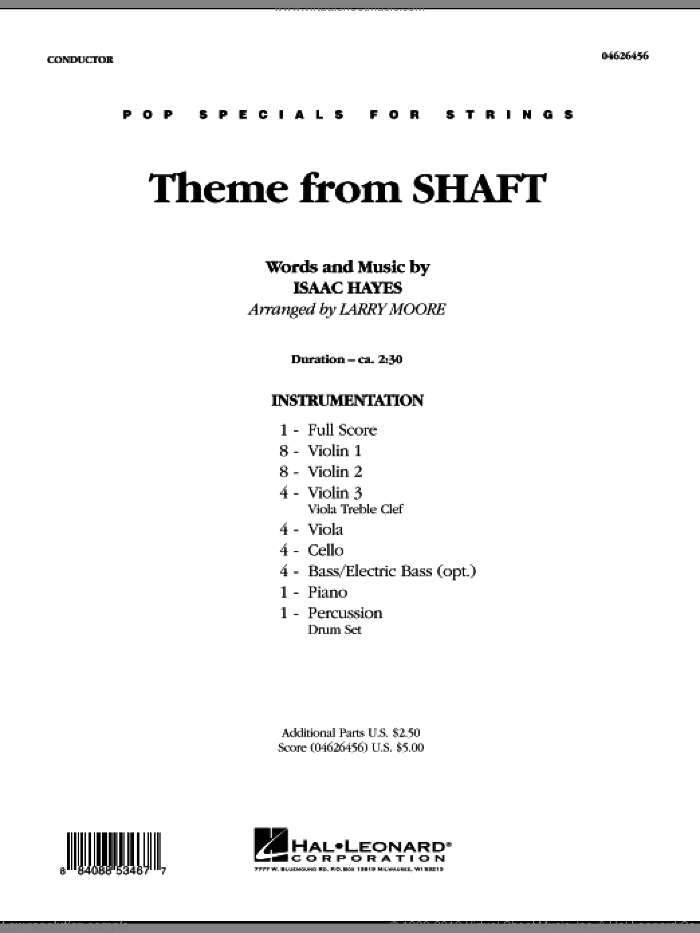 Theme from Shaft (COMPLETE) sheet music for orchestra by Isaac Hayes and Larry Moore, intermediate