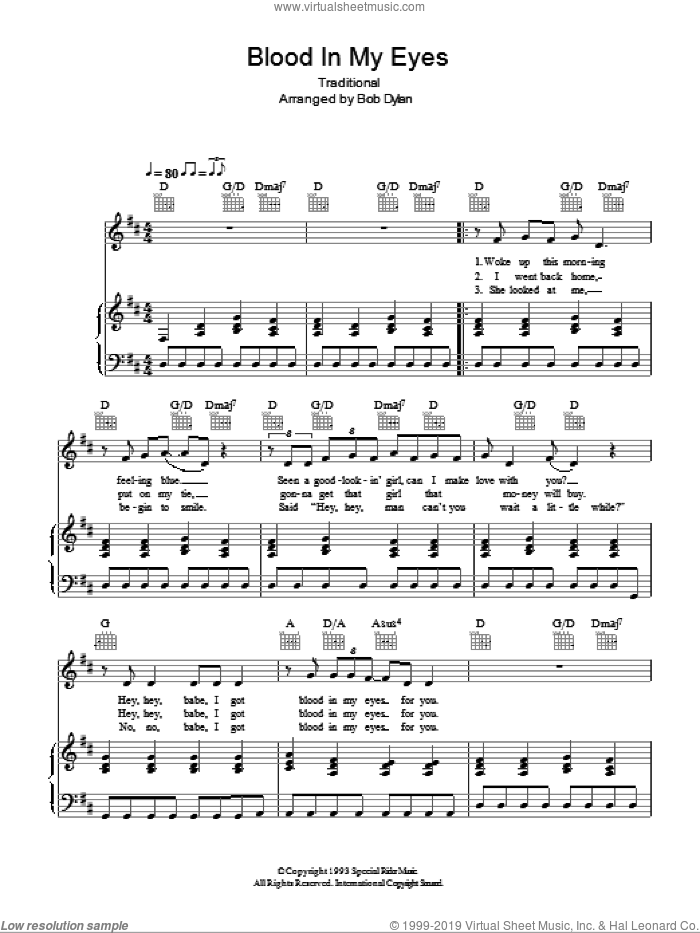 Blood In My Eyes sheet music for voice, piano or guitar  and Bob Dylan. Score Image Preview.